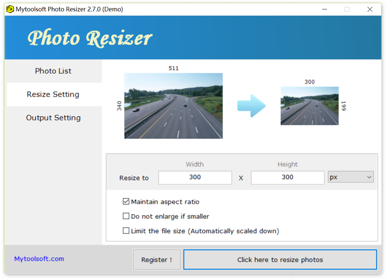 Click to view Mytoolsoft Photo Resizer 2.7.6 screenshot